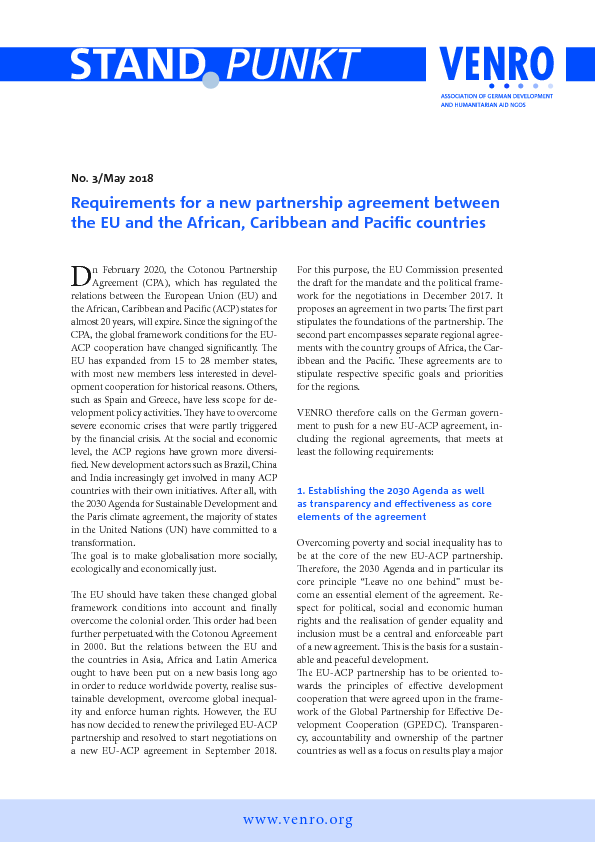 Requirements For A New Partnership Agreement Between The Eu And The
